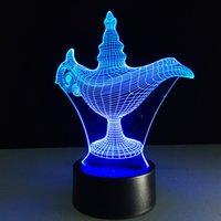 cadeaux commerciaux achat en gros de-3D Aladdin Lampe Lampe magique Led Veilleuses Atmosphère Illusion Table Humeur Chambre À Coucher Salon Café Bar Éclairage Du Centre Commercial Enfants Cadeaux De Noël