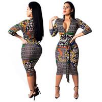 vestido de linha dourada venda por atacado-Designer de vestidos das mulheres padrão de luxo vestido de moda Geométrica correntes de ouro impressão vestir roupa das mulheres 2019 novo tamanho S-2XL