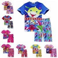 Wholesale baby clothing t shirt online - 2pcs set INS Kids Baby Shark Short Sleeve Pajamas Set Cartoon Clothing Sets Animal Shark T Shirt Pants Outfits Home Clothing CCA11233 set