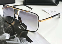 sonnenbrille klassisch schwarz für männer groihandel-Klassische quadratische Sonnenbrille Gold Schwarz / Grau Verlaufsgläser 2087 Herren Designer-Sonnenbrillen Brillen Neu mit Box