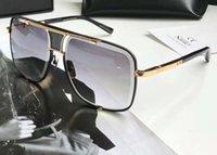 ingrosso occhiali da sole classico nero per gli uomini-Occhiali da sole quadrati classici Lenti pendenti oro nero / grigio 2087 Occhiali da sole firmati da uomo glasses des lunettes de soleil Nuovo con scatola