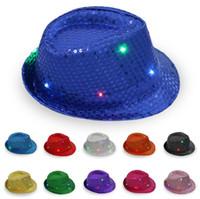 payet dans şapkaları toptan satış-LED Caz Şapka Yanıp Sönen Light Up Fedora Caps Pullu Kap Fantezi Elbise Dans Parti Şapkaları Unisex Hip-Hop Lambası Aydınlık Kap GGA2564