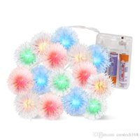 Wholesale moon lights battery operated resale online - Battery plug Operated Furry Snowball String Lights Dandelion Christmas Fairy String Lights for Holiday Wedding Party Decoration