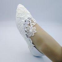fildişi nedime ayakkabıları toptan satış-2019 El Yapımı Kadınlar Moda fildişi Düğün ayakkabı düz bale Aplike dantel Gelin Nedime ayakkabı boyutu 35-41