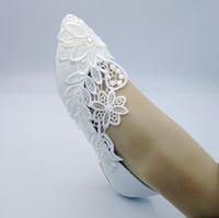 sapatas da dama de honra do laço do marfim venda por atacado-2019 Handmade Mulheres Moda marfim Sapatos De Casamento liso ballet Appliqued lace Nupcial Da Dama De Honra sapatos tamanho 35-41