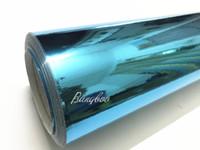 envoltura de vinilo del cielo al por mayor-1.52x18m PVC Material Autoadhesivo Azul cielo 3 capas de alto estiramiento espejo cromo aire libre envoltura de vinilo del coche