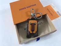 anahtar zincir dekorasyon toptan satış-Sevimli Kaplan Tarzı Deri Anahtarlık Lüks Moda Araba Anahtarlıklar Tasarımcı anahtarlık Çanta Dekorasyon Hediyeler Kutusu ile