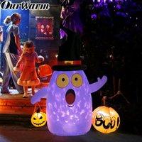 cadılar bayram dekorasyonları açık havada toptan satış-Işık göster Cadılar Bayramı Açık Dekorasyon değiştirme toptan Halloween Şişme Kabak Dekorasyon Şişme Hayalet Renk