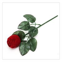 fuentes del partido rojo al por mayor-Romántico rosa roja caja de anillo de la flor caja de regalo de la joyería para el banquete de boda Día de San Valentín Decoración Suministros Encanto Moda