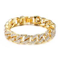 könig armband großhandel-18 Karat Gold kubanische Kette Armbänder für Männer Hip Hop 14mm 23cm Iced Out Crystal Miami Armband The Hip Hop König Schmuck Armreifen Geschenk
