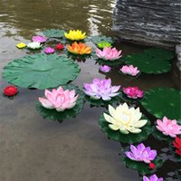 Wholesale flower artificial lotus floating water resale online - 5Pcs Artificial Lotus shaped Water Lily Floating Flowers With LeavesPool Simulation Lotus For Home Garden Wedding Party Decor