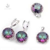 Wholesale earrings rainbow resale online - SHUNXUNZE dropshipping Wedding jewelry sets ring earring pendant for women Rob mad Rainbow Cubic Zirconia Rhodium Plated R735set