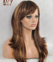 Wholesale wig worn resale online - Blonde Brown Mix quot Long Wavy Women Wig Cos Daily Wear Full Hair Wigs