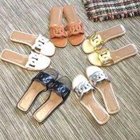 schwarze goldfrauen sandalen großhandel-Hermes Hot Fashion Brand 2019 Luxus Designer Strand Schuhe Damen Schwarz Weiß Gold Sommer Hausschuhe Flip Flops Casual Slip auf Gilrs Sandalen 36-41