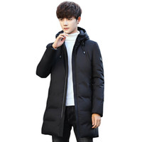 ingrosso giacca di anatra coreana-Duck Down Jacket Men Clothes 2018 Winter Long Coat Casual Coreano Streetwear Fashions Overcoat Parka Manteau Homme Hiver ZL1141