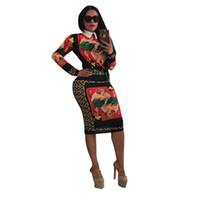 Wholesale plum suits resale online - Women Plum Blossom Komen Print Suit Dress Doll Brought Lapel Neck Women Two Piece Summer Outfits