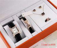 assistir marcas de grife famosas venda por atacado-Womens Relógio de luxo 5 peça definir Titanium pulseira anel colar brincos senhoras famoso designer da marca assistir relógio de couro Strap Mulheres \ 's