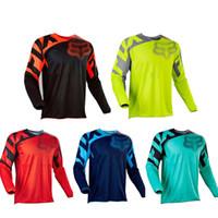 dağ bisikleti bedava toptan satış-Ücretsiz kargo Bisiklet Giyim Bisiklet Serisi Jersey Turuncu Uzun Kollu Üst Yokuş Aşağı Yarış Motosiklet Dağ Bisikleti Off-road Tilki TLD T-shirt