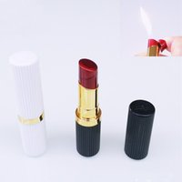 Wholesale lipstick gas resale online - lipstick lighter flame lighter Cigarette Lighter cigar Butane Gas Refillable nice gift outdoor quality slim fashion design for women