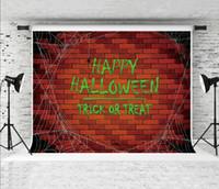 mur de briques achat en gros de-Rêve 7x5ft Halloween Nuit Photographie Toile de Fond Rouge Brique Mur Cobwebs Décor Photo Fond pour Soirée Shoot Studio Prop