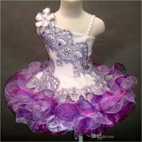 Wholesale balls hand made resale online - new glitz One shoulder lace beaded hand made flower organza ball gown cupcake toddler little girls pageant dresses flower girls for weddings