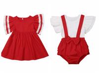 mono de moda lindo al por mayor-Emmababy Fashion Cute Sister Match Kid Baby Girl Ruffle DressTops Bib Pantalones Arco de encaje rojo Body Trajes de verano
