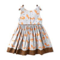 vêtements filles renard achat en gros de-Vêtements d'été pour filles robe sans manches en Fox Design Robe à col rond 100% coton Robe d'été pour fille