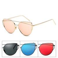 rosa metall brillenfassungen groihandel-Weibliche Katzen Auge Sonnenbrille Bunte Personality Brille Strand Sonnenschutz-Brille-Trend Mode Metallrahmen Rot Rosa 7 8LD C1