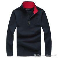 diseños de manga larga polo al por mayor-Camisa polo de punto 5 colores de marca para hombre Polos Diseño de la cremallera bordado de manga larga para el otoño