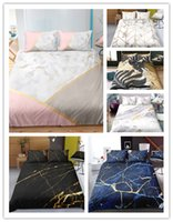 Wholesale blue pattern bedding for sale - Group buy Fashion Modern Mable stone pattern printing Bedding sets with pillowcases