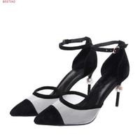 iplik türü toptan satış-Yeni sandalet tipi rahat nefes örgü iplik kumaş kadın boncuk ile yüksek topuk deri sandalet sivri