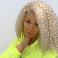 peruca loira curly loira venda por atacado-150% Densidade Pure 613 Loira Perucas Dianteiras Do Laço Do Cabelo Humano Com o Cabelo Do Bebê Nós Descorados Parte Livre Colorido Laço Peruca Dolago