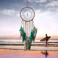 araba dekor kolye toptan satış-Dreamcatcher Rüzgar Çanları kolye Lapacz Asma Odası Ev Dekorasyonu Asma Araba Duvar için el yapımı Dream Catcher Tüyler Dekorasyon