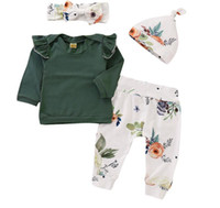 yürümeye başlayan çocuklar pantolon ruffles toptan satış-Yürüyor Bebek Kız Kıyafet Güz Uzun Kollu Fırfır Gömlek + Çiçek Pantolon + Kafa + Şapka Giysi Set 4 Adet çocuk kız giysileri