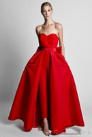 overalls frauenrock großhandel-Rote Overalls formale Abendkleider mit abnehmbarem Rock Schatz-Abschlussball-Kleid-Partei-Abnutzungs-Hosen für Frauen vestidos de fiesta de noche