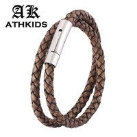 Wholesale snap wristbands for sale - Group buy Fashion Retro Brown Leather Braided Double Layer Bracelet Men Women Stainless Steel Snaps Vintage Wristband Gifts PD0491