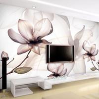 fondo de pantalla de loto en casa al por mayor-Fondo de pantalla 3D personalizado Arte Moderno Transparente flores de loto Humo Imagen de pared Sala Comedor simple Decoración Fresco