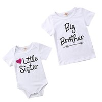 Wholesale big sister clothing for sale - Group buy New Family Match Hot Style Little Sister Romper Big Brother T Shirt Toddler Short Sleeve Matching Clothes