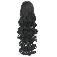 Wholesale ponytails resale online - 60cm Long Black Blonde Curly Clip In Hair Pieces Pony Tail High Temperature Fiber Synthetic Hair Claw Ponytail