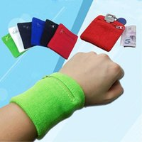 ingrosso portafogli a bracciale-Zipper polso del sacchetto del raccoglitore sport correnti sacchetto del braccio band Per Key Card MP3 Storage Bag Caso Badminton Wristband Parasudore