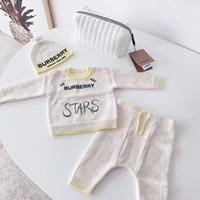 tulum uzun kollu kış toptan satış-4 adet Bebek Örme Kazak Romper 0-24 Ay yıldız Şapka Ile Pamuk Uzun Kollu Sonbahar Kış Bebek Yumuşak Erkek Bebek Kız Tulum