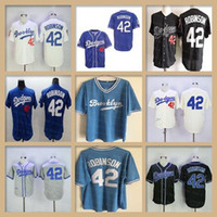 Wholesale light miller resale online - Men JackieRobinson Jersey Brooklyn Dodgers Gray Light Blue White Cream Black Los Angeles LA Robinson Throwback Baseball Shirts Cheap