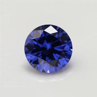 Wholesale fire gem online - 100pcs A Grade Tanzanite BLue Color mm Cubic Zirconia Stone Round Cut Loose CZ Stone Synthetic Gems