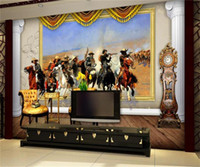 Wholesale indian bedding for sale - Group buy custom size d photo wallpaper living room bed room mural Indian Wars oil painting d picture sofa TV backdrop wallpaper non woven sticker