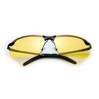 gafas de sol amarillas uv al por mayor-1 UNID Lente Amarilla Visión Nocturna Gafas de Conducción Hombres Gafas de Sol de Conducción Polarizadas Protección UV Contra Deslumbramiento Nocivo / UVA / UVB