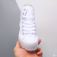 Wholesale women's basketball shoes resale online - 2020 new canvas shoes thick bottom loose and high rise shoes black and white serrated sponge cake ripple bottom high top women s new