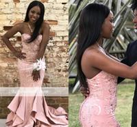 sirena de encaje negro cariño al por mayor-African Black Girls Pink Mermaid Vestidos de fiesta largos 2019 Sweetheart Satin Lace Lace Lentejuelas vestidos de fiesta de noche por encargo BC1851