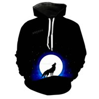 frauen galaxie hoodie großhandel-Wolf Hoodies Männer 3D Print Galaxy Star Nebula Mit Kapuze Mens Womens Streetwear Sweatshirts Persönlichkeit Hoody Kid Tops Schwarz Hoodie