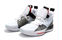 kırmızı leopar top toptan satış-2019 Yeni Renk 33 XXXIII Leopar baskı Beyaz Siyah Basketbol Spor Ayakkabı Mens Sneakers Kutusu Ile Kırmızı Tasarımcı Eğitmenler