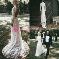Wholesale wedding dresses plus sizes sleeves online - Bohemian High Neck Lace Wedding Dresses Sexy Backless Sheath Sweep Train Rustic Style Country Wedding Bridal Gown Custom Made